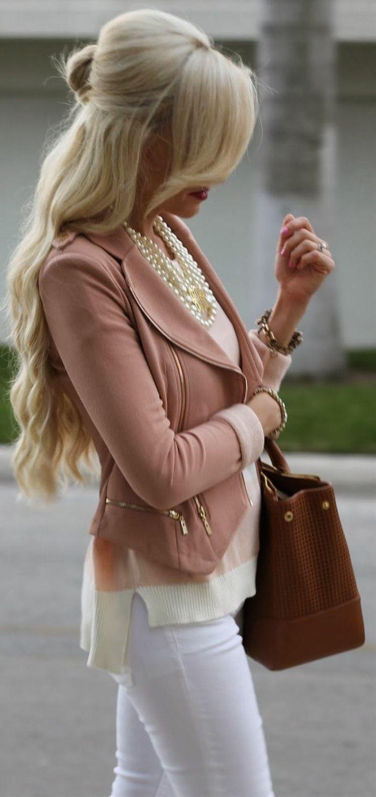 Blush Asymmetrical Moto Jacket