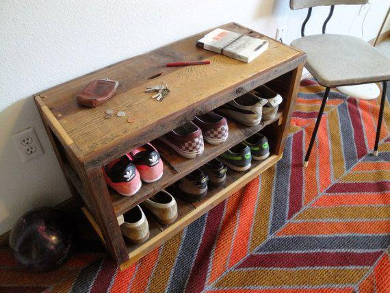 Custom Handmade Reclaimed Wood Entry Rack Storage Shelf Shoe Rack