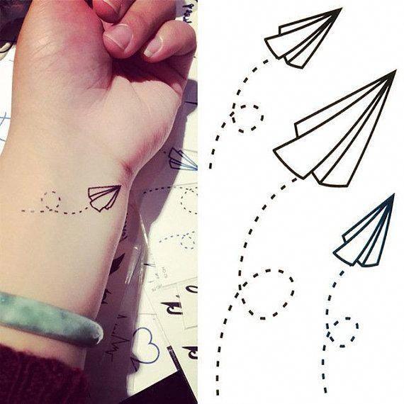Papier Flugzeuge Temporare Tattoos 3er Set Flugzeuge Ohr Hals