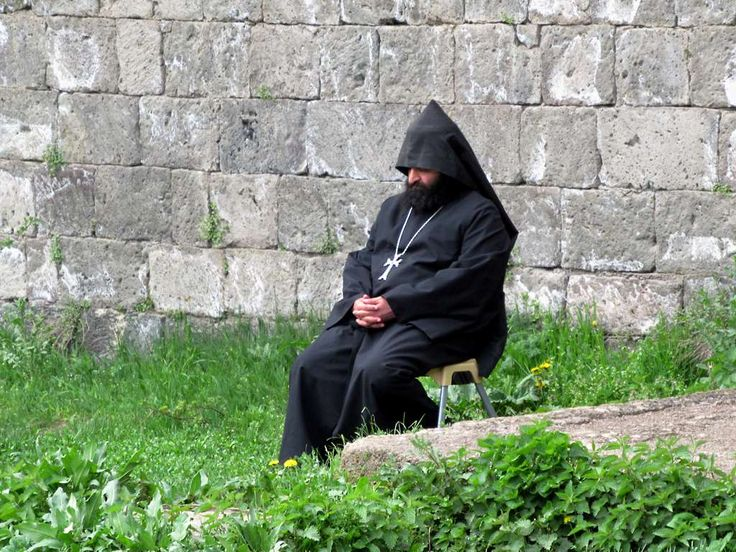 Father Mikael Gevorgian, Abbot of Tatev Monastery in southeastern Armenia, takes a break.