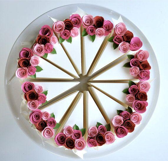 Garden Party Series Paper Cake Wedding Favor Box Fuchsia Blossom Persimmon 1 Slice