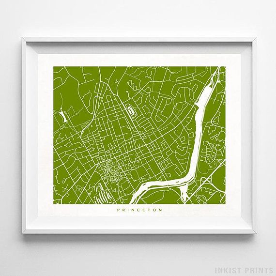 Princeton, New Jersey Street Map Wall Art Poster - 70 Color Options - Prices from $9.95 - Click Photo for Details - #streetmap #map #homedecor #wallart #Princeton #NewJersey