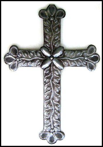 "Metal Cross Wall Hanging 18"" - Christian Cross Wall Decor -  Decorative Cross - Christian Wall Decor - Haitian Steel Drum Art - CS-100-18 by HaitiMetalArt on Etsy"