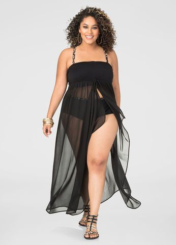 08924d10d70 2-In-1 Chiffon Swim Cover-Up | Beach/Summer Time! | Plus size swimwear,  Women's plus size swimwear, Swim cover