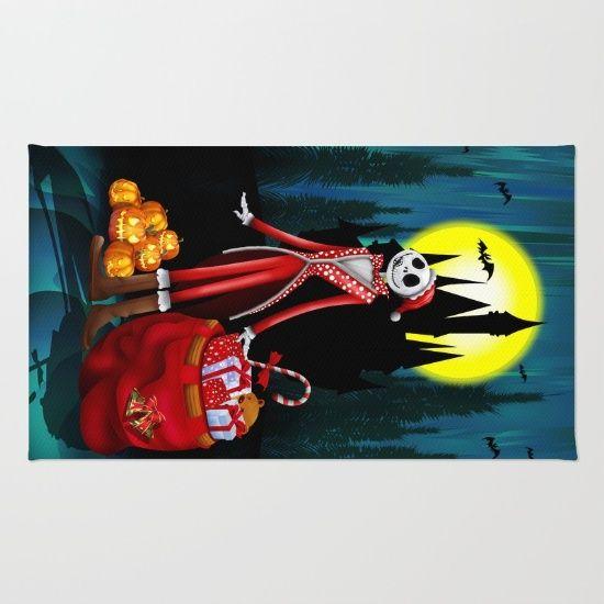 Halloween Jack santa claus Skellington RUG #rug #cartoons #kids #holliday #christmas #halloweenskull #thenightmarebeforechristmas #jackskellington #halloweencostume #sally #pumpkins #halloweenpumpkin #tjackskelleton #pumpkinking #jackandsally #skellington #nightmarebeforechristmas