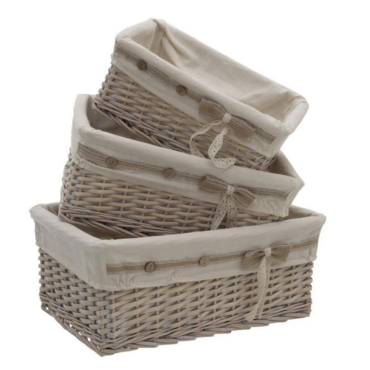 Willow Basket Set Of 3 Pieces - inart