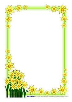 St David's Day daffodil A4 page borders (SB1248) - SparkleBox