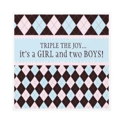 Triple the Joy Argyle Boy Girl Triplet Baby Shower Personalized Invitation by kat_parrella