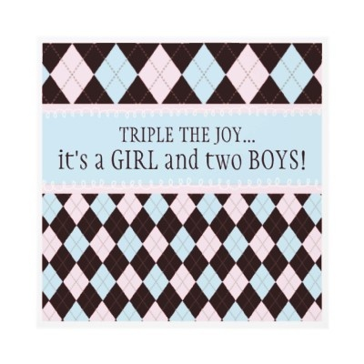 Triple the Joy Argyle Boy Girl Triplet Baby Shower Personalized Invitation by kat_parrella