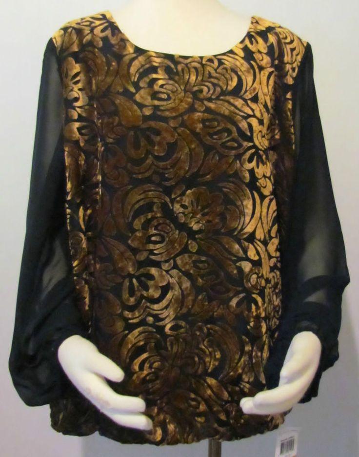 NEW Womens Ladies Plus STYLE & CO Black Silky & Golden Brown Velvet ShirtTop 3X #Styleco #SilkyTop #VERSATILE