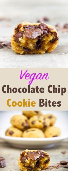 Chocolate Chip Cookie Bites   vegan, oil-free, refined sugar-free