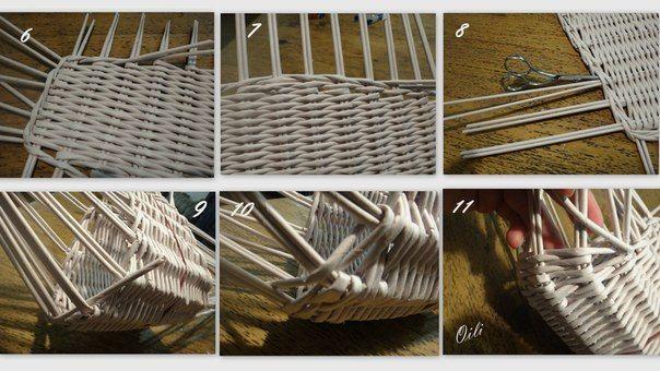 2. оплетаем двумя рядами веревочки -прямой и обратной , получившуюся деталь. Нарастила стойки.Теперь самое интересное -сгибаем нашу деталь, закрепляем резинкой и плетем, как бы надламывая стоячки и придаем постепенно округлые бока сумочке.