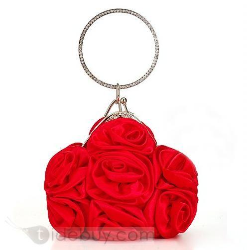 結婚式/イブニング用繊細なビッグサテン花レディースハンドバッグ(3色)