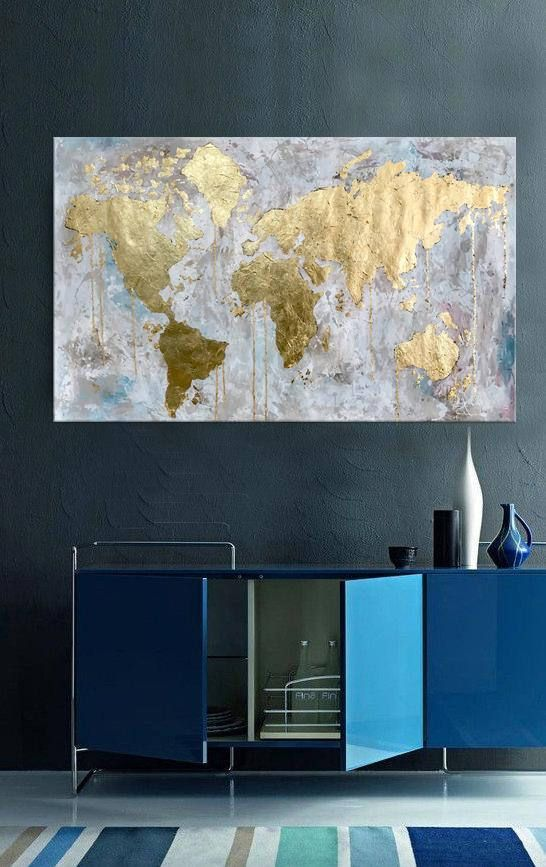 World map World map canvas Oversize wall art Gold Leaf