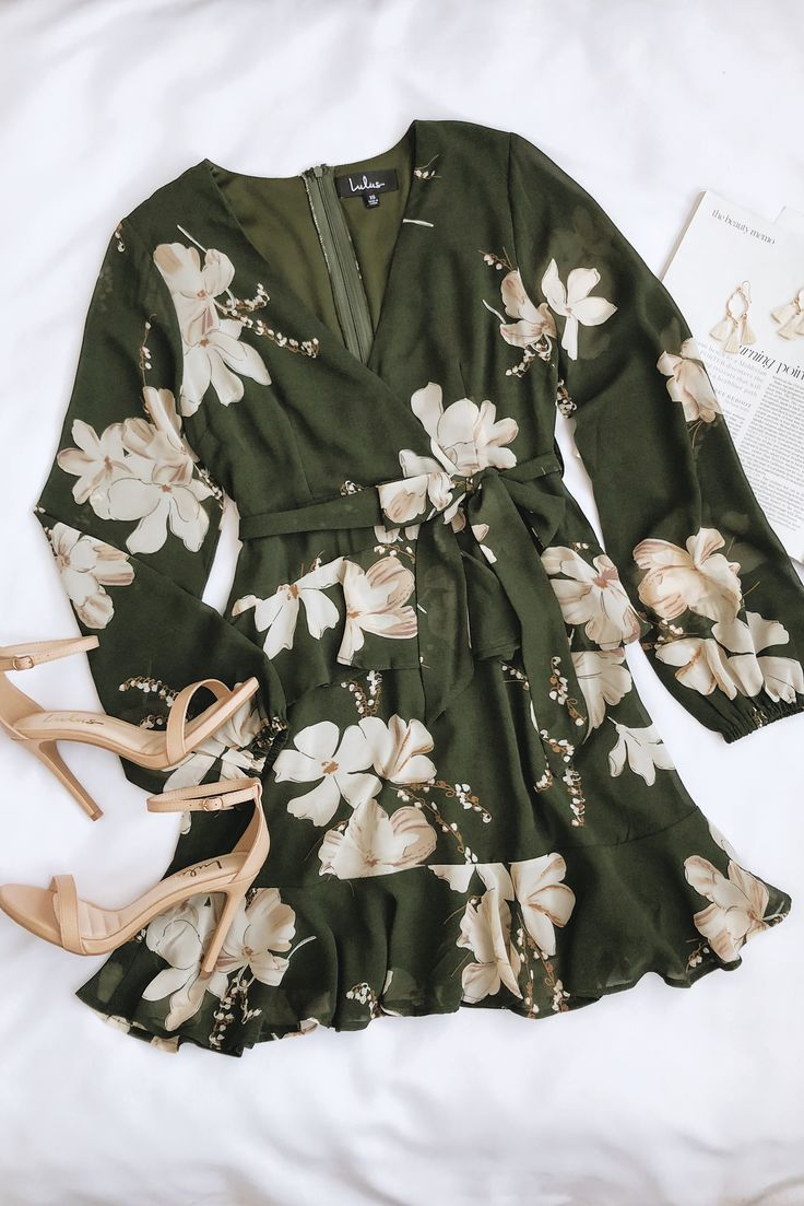 Jasmine and Yours Olive Green Floral Print Long Sleeve Dress