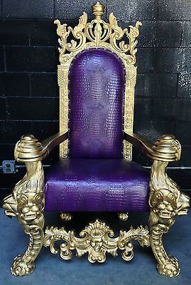 Gold Purple Croc Hollywood Regency Diva King Ralph Chair
