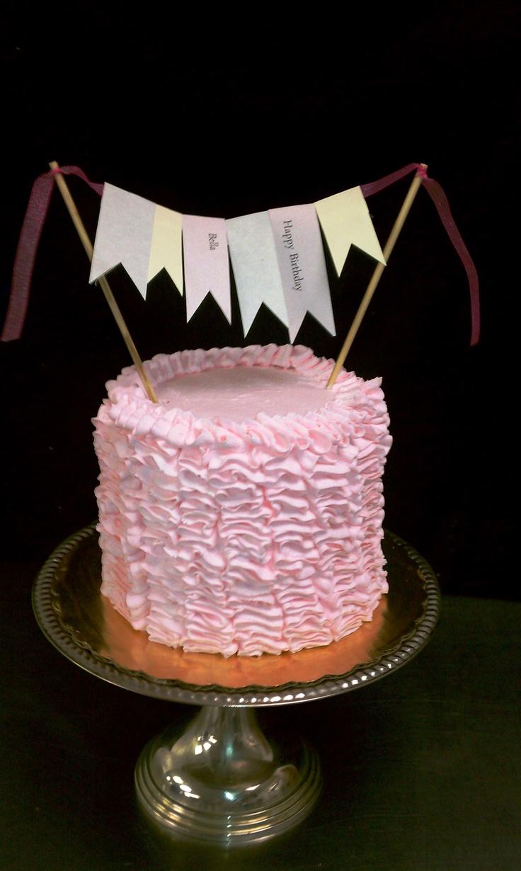 Ruffled rose pink cake