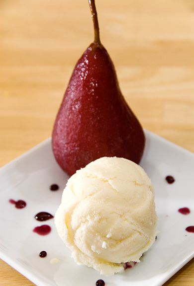 pear ice cream and wine-poached pears recipes | use real butter