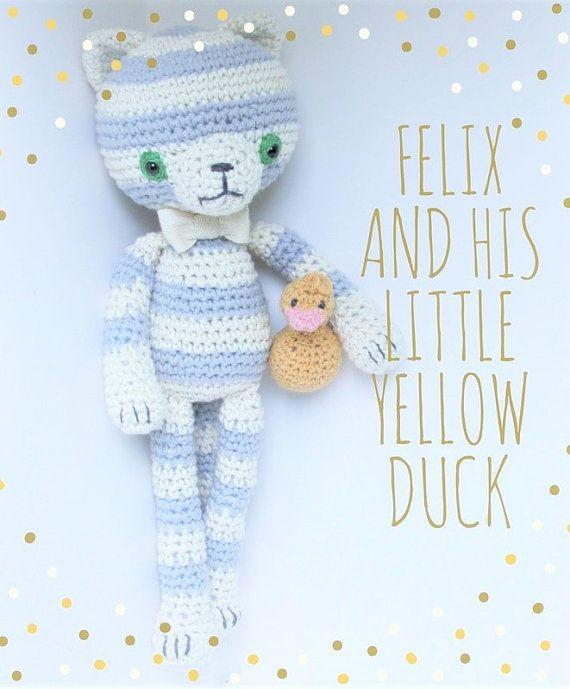 Felix and his little yellow duck amigurumi cotton by cottonandjute