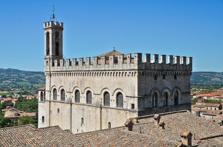 Gubbio, Umbria--a great example of a medieval building with great views...and home of the region's best truffle festivals.