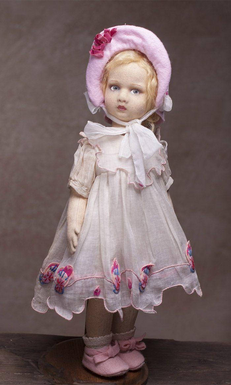 Итальянская Кукла LENCI в оригинальном платье из органзы. Высота - 43 cм, 1930-е…