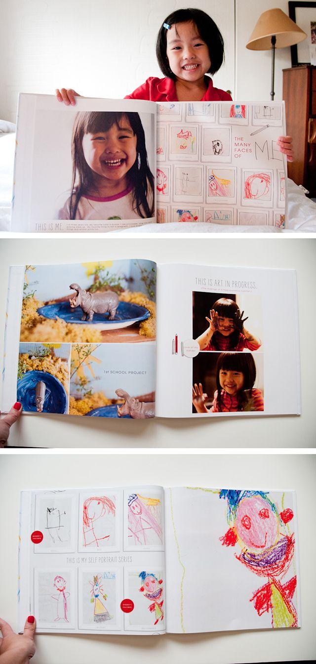 Серия портретов ребёнка, нарисованных в разных возрастах, собраны на одной странице.