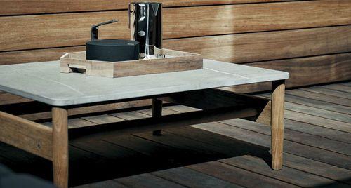 Contemporary garden coffee table (marble top) by Rodolfo Dordoni ROAD  RODA