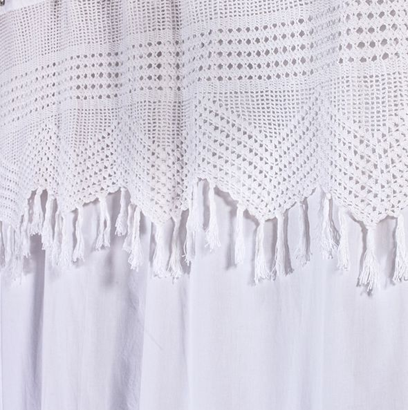 Vintage Crochet Shower Curtain