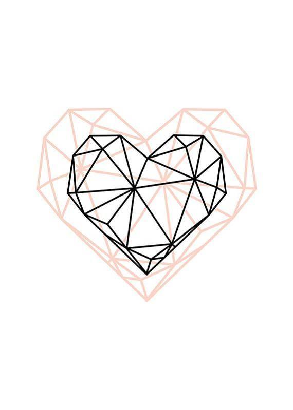 Geometrisches Herz, moderne Einrichtung, druckbare Kunst, geometrische Kunst, Wandgestaltung,…