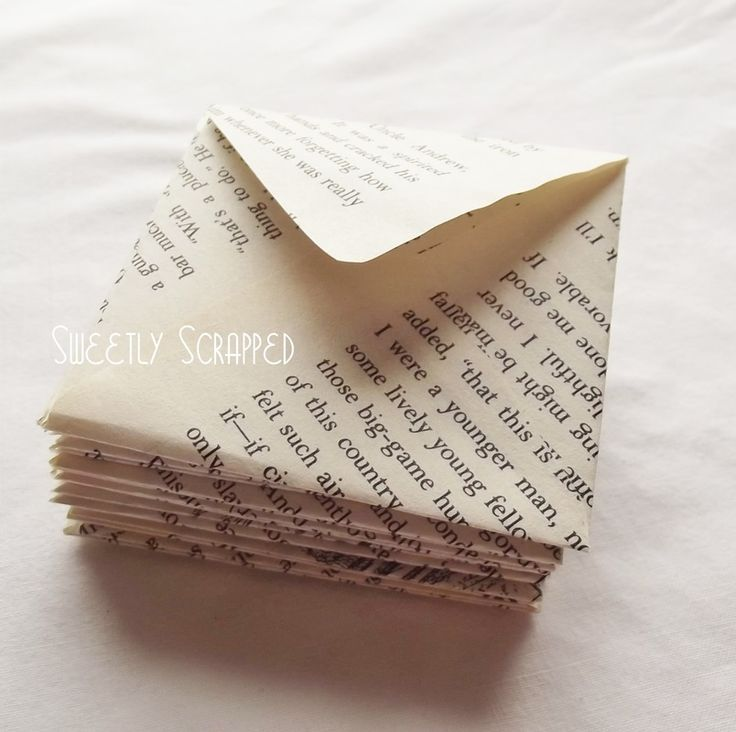 Book page envelopes 3 x 3