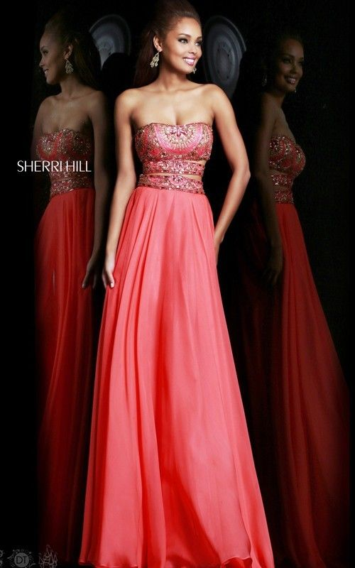 2014 Sherri Hill Side Cut Outs Prom Dresses 11088 CoralOutlet