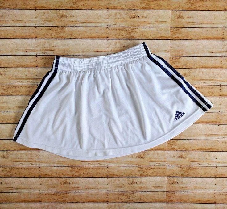 Vintage 90s Adidas Womens Large White Skater Skirt Blue Stripes Pockets Athletic #Adidas #Athletic