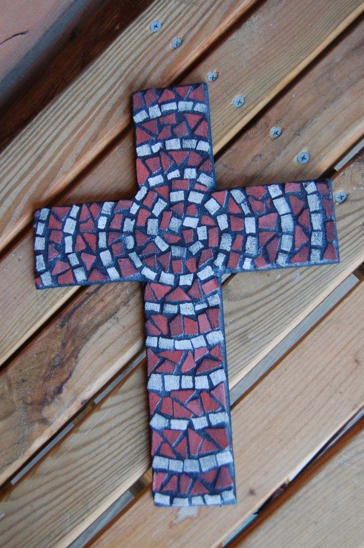 Spiral Mosaic Cross - Red, White, and Black