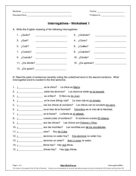 interrogatives 6th 7th grade worksheet lesson pla. Black Bedroom Furniture Sets. Home Design Ideas