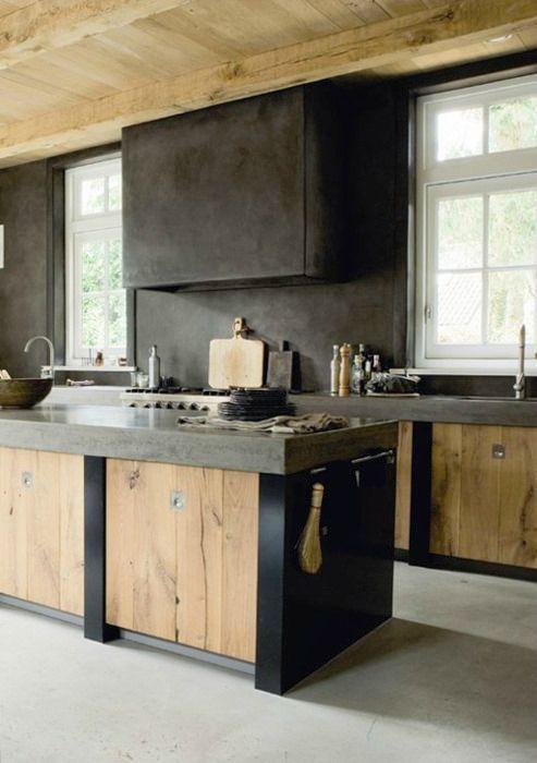 armoire cuisine contemporain noir et bois naturel