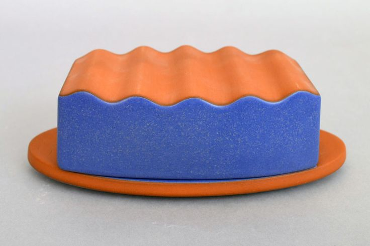 "Paul Eshelman, Butter Dish Red Stoneware, glaze 2.75"" h x 8.25""w x 3.75"" d"