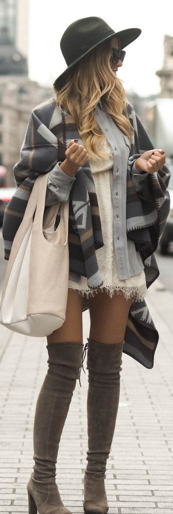 Pair a blanket coat with over the knee boots and a wide brimmed hat for casual sophistication. Via Lene Orvik.