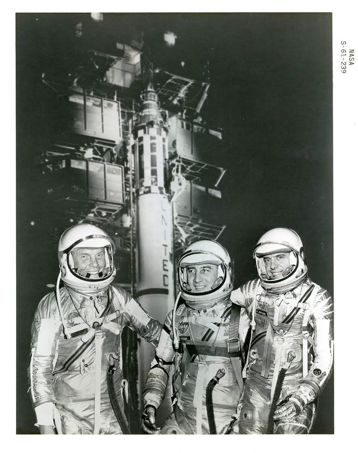 NASA Mercury Space Program - These 3 were chosen to complete the first Mercury Flights. Glenn (1st American to Orbit Earth), Grissom and Shepherd (1st American in Space)