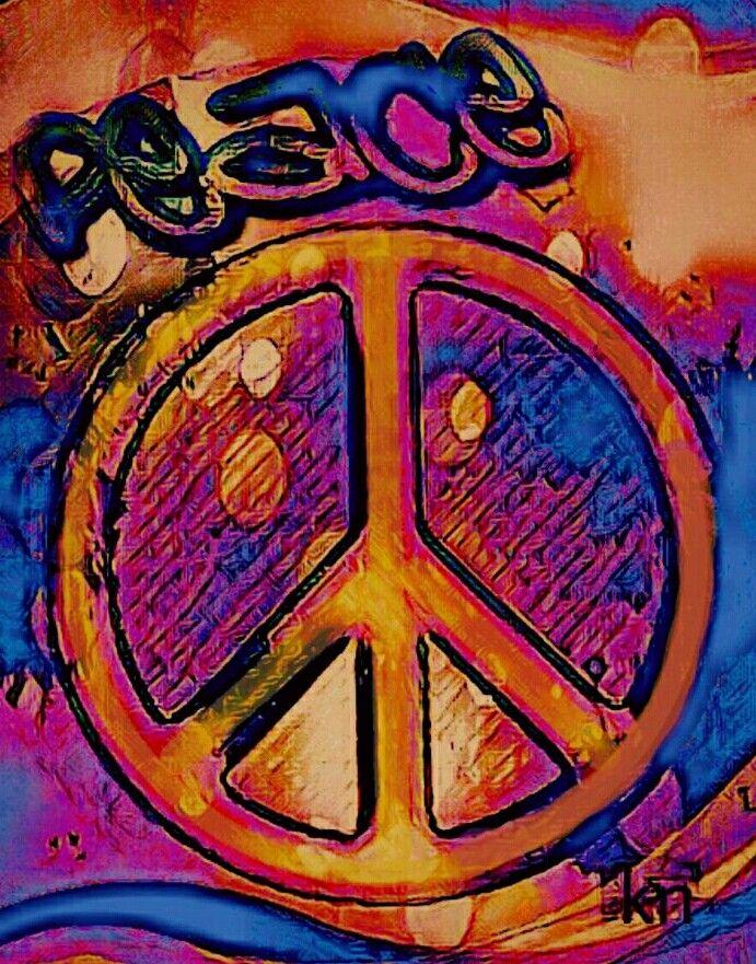 """Peace"" ✌  __[Peace sign Art by KN]  ___11/23/2016 #cOrange #cBlues"