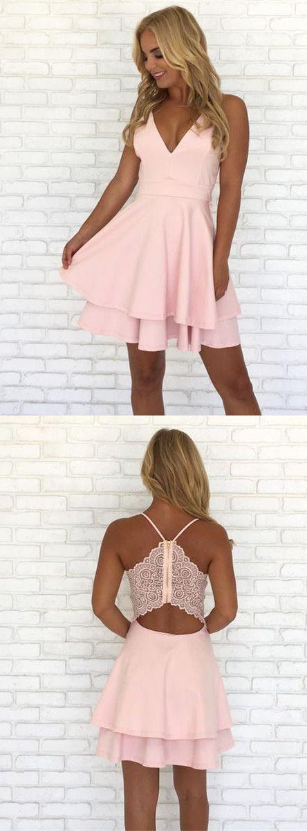 2017 homecoming dress, short homecoming dress, pink homecoming dress, short pink chiffon homecoming dress, party dress dancing dress
