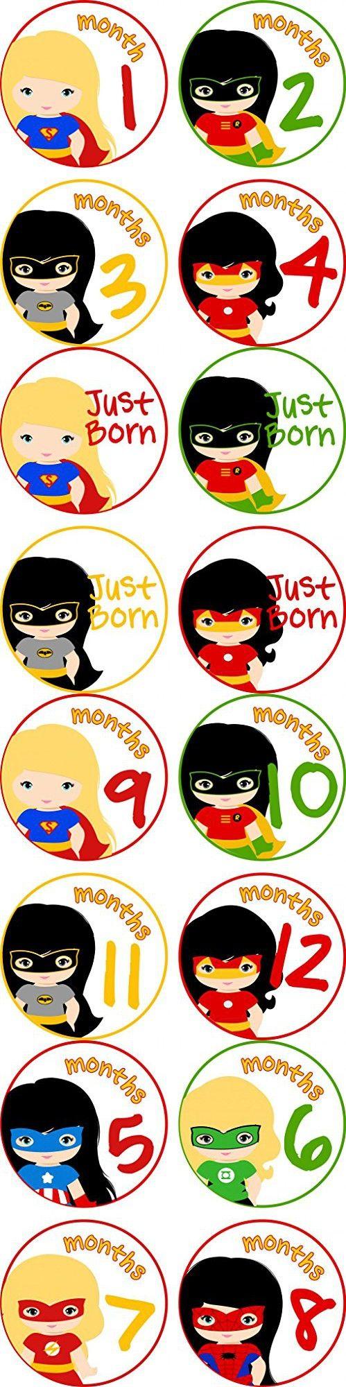 Little LillyBug Designs - Monthly Baby Stickers - Super Hero Girls