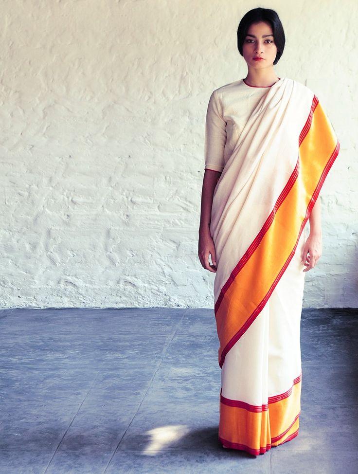 Buy White Orange Red Hoor Cotton Silk Saree By Raw Mango Online at Jaypore.com