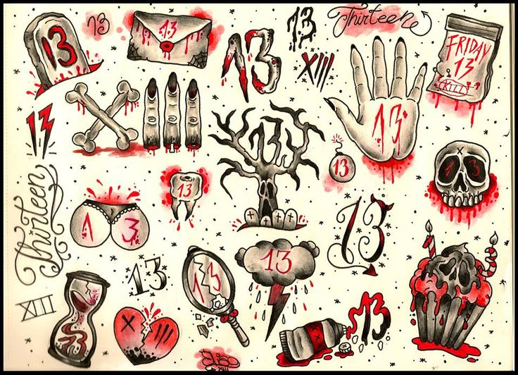 FRIDAY THE 13TH JUNE 2014!! Transform your love for bad luck into a tattoo! --- Contact Black Onyx (London): info@blackonyxtattoostudio.com --- Number 13 tattoo design. By Elisa Devihate.