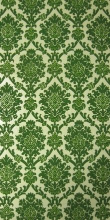 My parents had these 70s wallpaper with red ornaments in the living-room #original #vintage #green #wallpaper