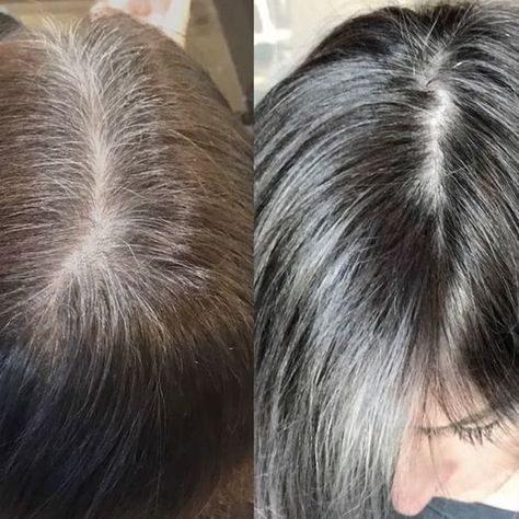 Gray is beautiful but roots aren't!! Is it tome for you or your client to embrace your grey hair? It absolutely can be done and done in a way that can make you look more youthful! Let's face it, brown hair that needs its white hair touched  up every 2 weeks can look worse,  be way more time consuming and way less cost effective. The way that I achieved  a more modern look on my client was to balayage her ends with even more silver than her roots have, this way when her roots grow out ...