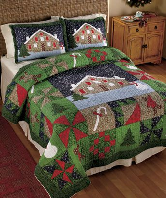 "Gingerbread Bedding Collection will keep you as warm as a cookie right out of the oven. The vermicelli-stitched Quilt features holiday symbols such as snowmen, Christmas trees, gingerbread men, candy canes and more. Full/Queen Quilt, 86"" sq. King Qui"