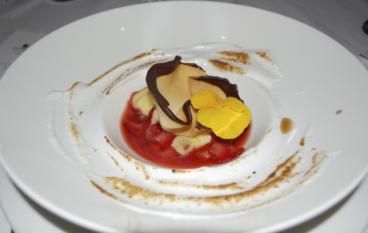 Lemon Curd with Strawberries Marinated with Susur's ice Syrup Italian Meringue  ⁄ Paper thin pastry