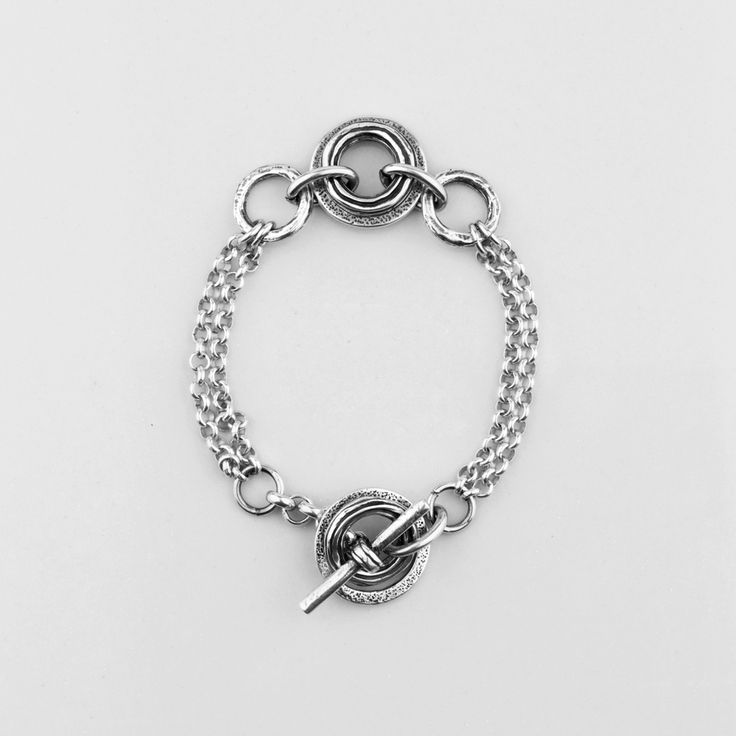 Miglio Designer Jewellery - Double-strand Burnished Silver Bracelet