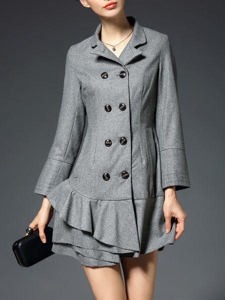 Ruffled Wool blend Double-breasted Mini Dress