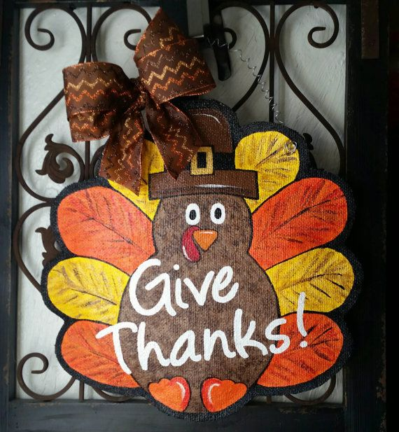 Great Thanksgiving Turkey, Hand Painted Burlap Door Hanger Measures 18 Inches  Wide By 18 Inches Tall. Ready To Hang Right From The Box Connie Risley  Crafts
